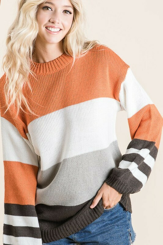 COLOR BLOCK SWEATER WITH STRIPE BUBBLE SLEEVES