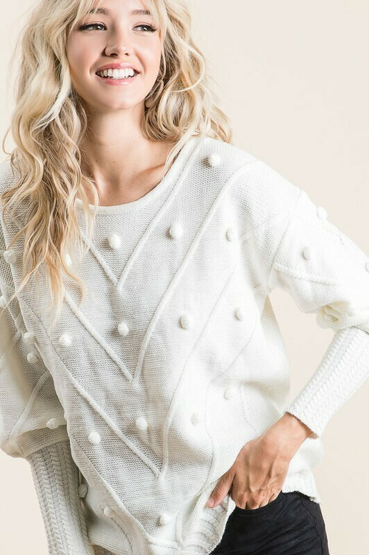 KNITTED SWEATER WITH ALL OVER DOT APPLIQUE