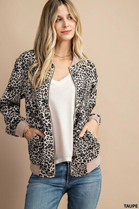 LEOPARD BOMBER WITH SOLID TRIM