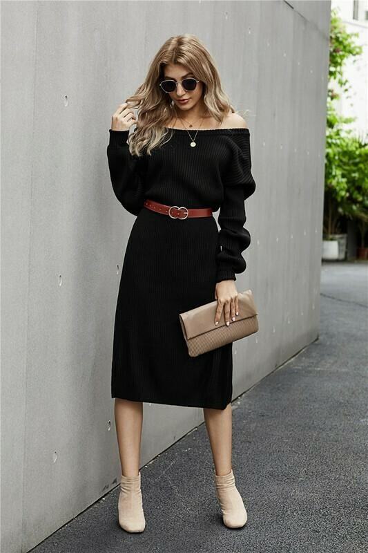Ribbed Midi Sweater Dress
