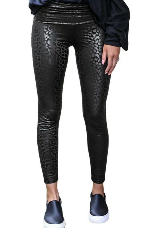 Black Shiny Leopard Textured Leggings
