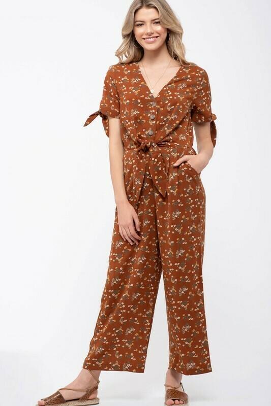 Ditsy Floral Print Jumpsuit