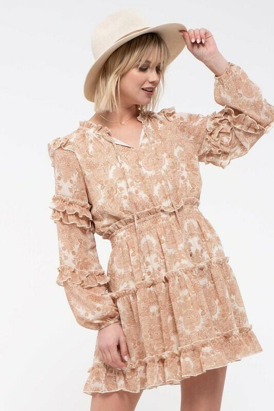 Paisley Ruffle-Tiered Dress