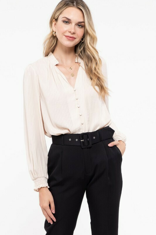 Stripe Woven Long Sleeve Top