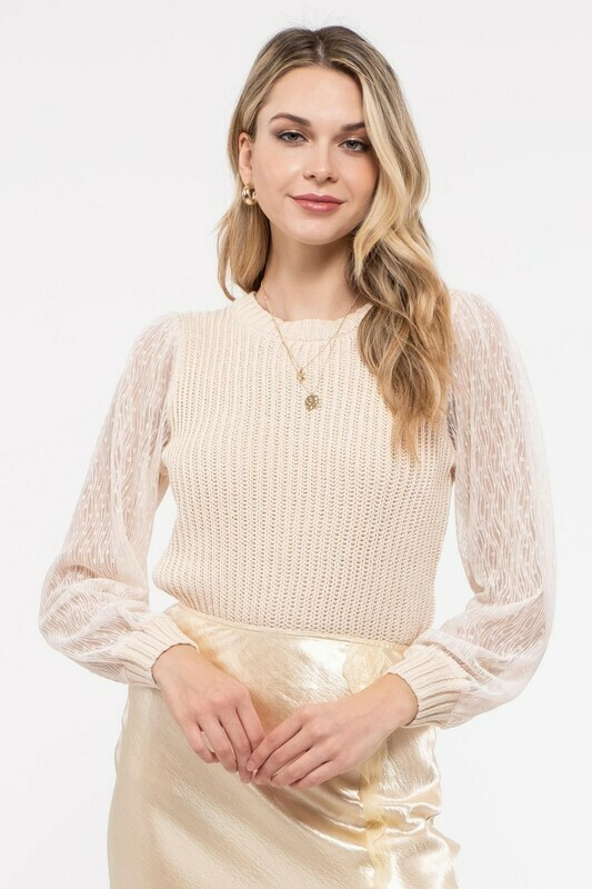 Round Neck Sweater Top With Sheer Detailed Sleeves