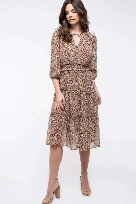 Floral Print Tiered Skirt Midi Dress
