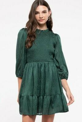 Smocked Ruffle Trim Dress