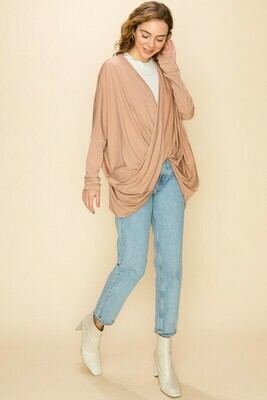 Twist Front Drop Shoulder Long Sleeve Top
