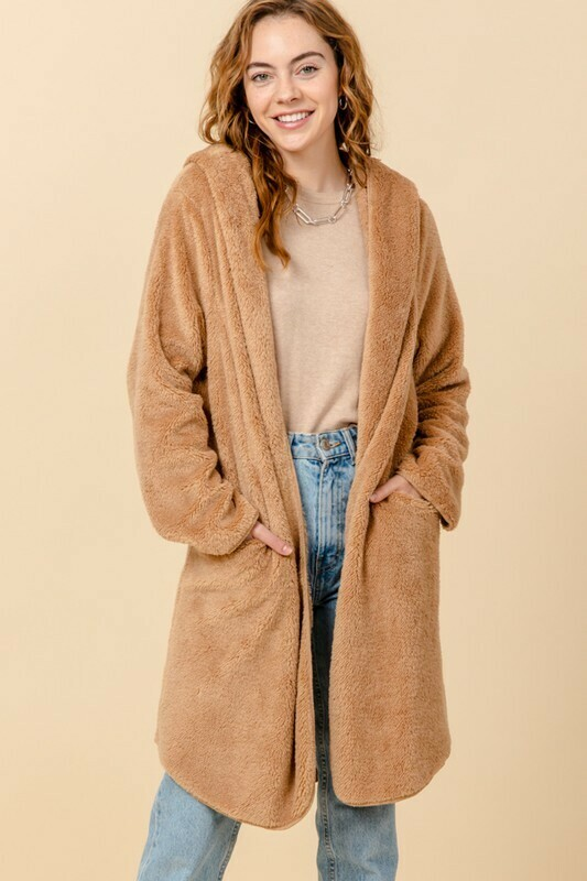 Open Front Pocket Hooded Teddy Coat