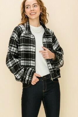 Plaid Zip Up Jacket
