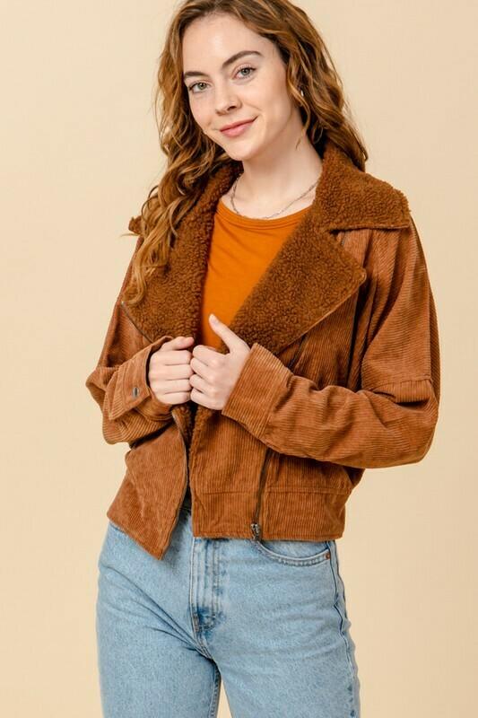 Corduroy Side Zip Up Jacket