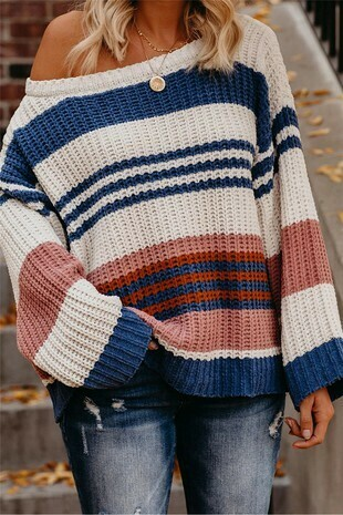 Striped and color block sweater