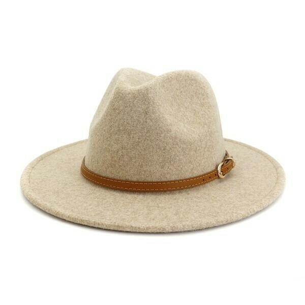 Brown Simple Leather Belt Panama Hat