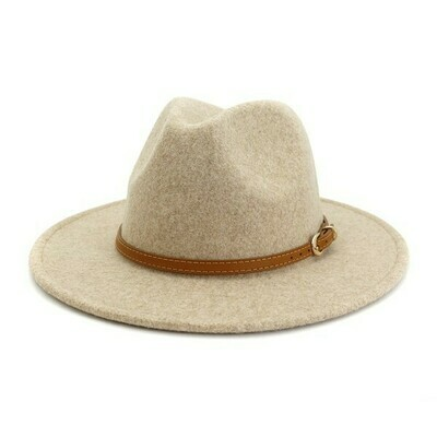 Brown Simple Leather Belt Panama Hat