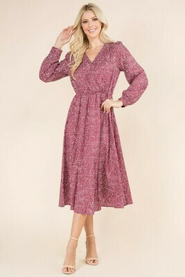 Wine Dotted Dress