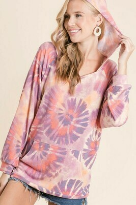 Circular Tie Dye Print Terry Hoodie