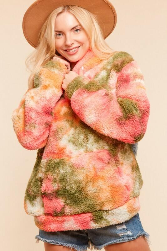 Tie Dye Sherpa Fleece Hoodie Pullover