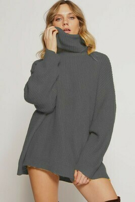 SHEARLING TEXTURE TURTLE NECK PULLOVER SWEATER