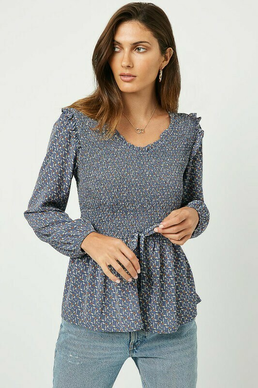 Womens Smocked Ruffled Long Sleeve Blouse