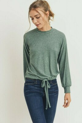 Balloon Sleeves Brushed Knit Cropped Top