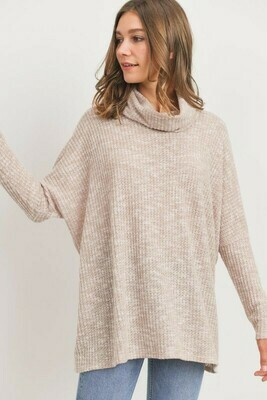 Turtle Neck Long Sleeves Waffle Knit Top