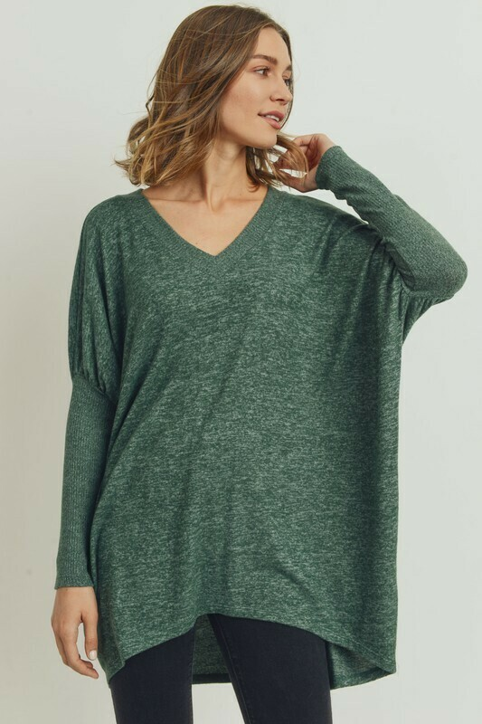 Brushed Knit V Neck High Low Tunic Top