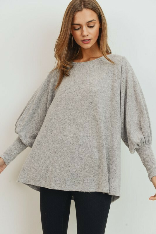 Brushed Knit Balloon Sleeves High Low Top