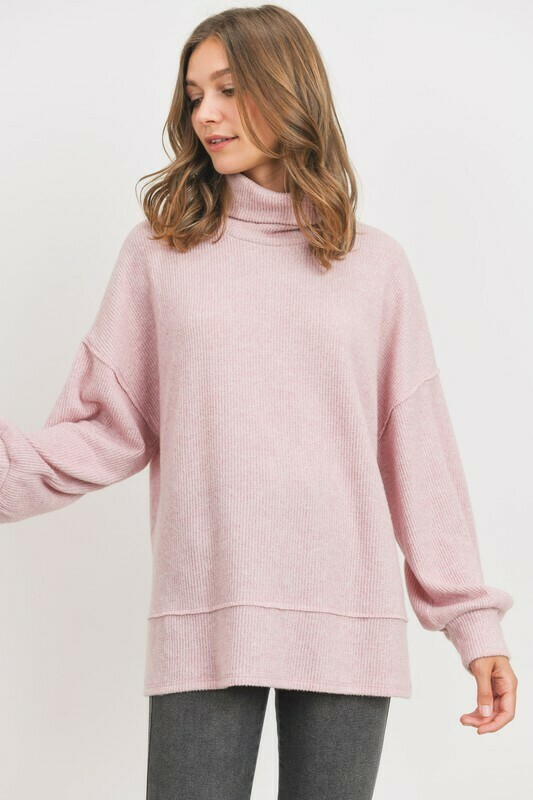 Turtle Neck Brushed Mini Thermal Knit Top