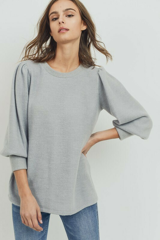 Wool Brush Puff Shoulder Knit Top