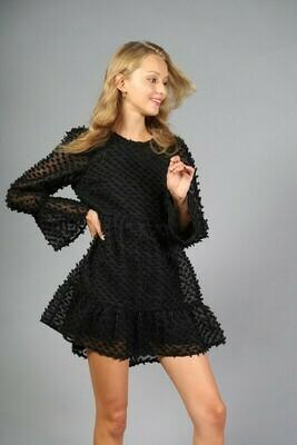 SWISS DOT PATTERN WOVEN DRESS