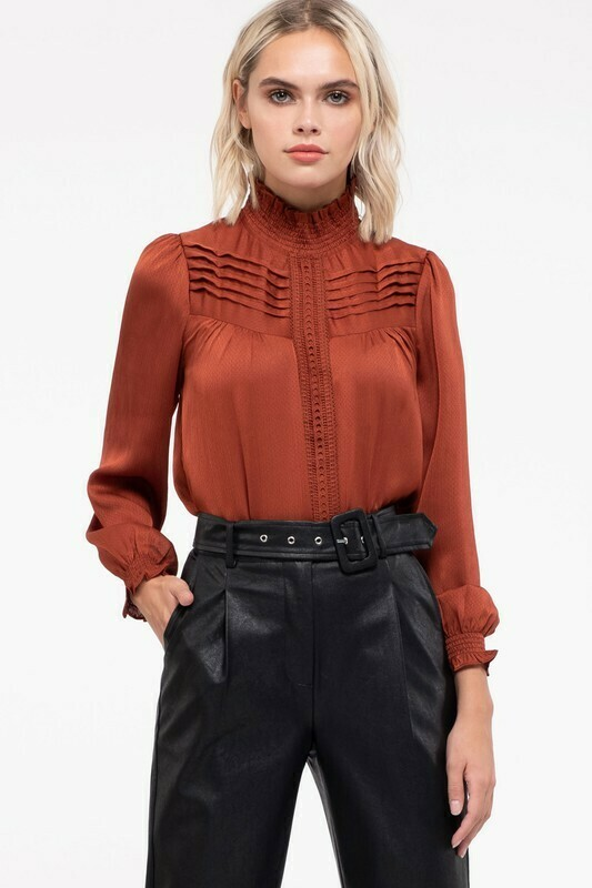 Mock Neck Pintuck Top
