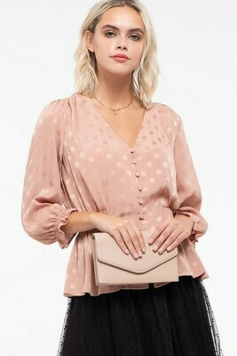 V-NECK SATIN EFFECT BLOUSE
