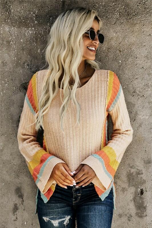 Colorblock Bell Sleeve Lightweight Sweater