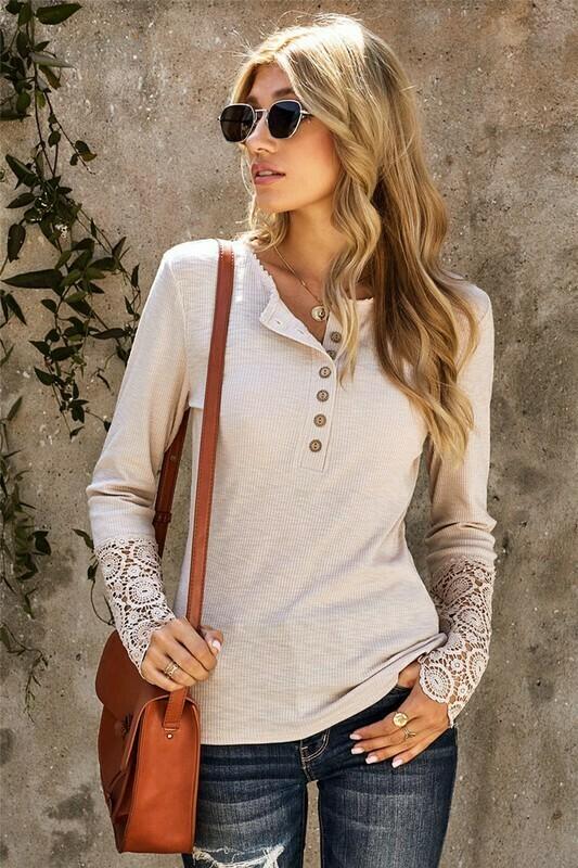 Crochet Lace Hem Sleeve Button Top