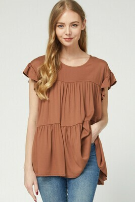 Solid scoop-neck tiered top