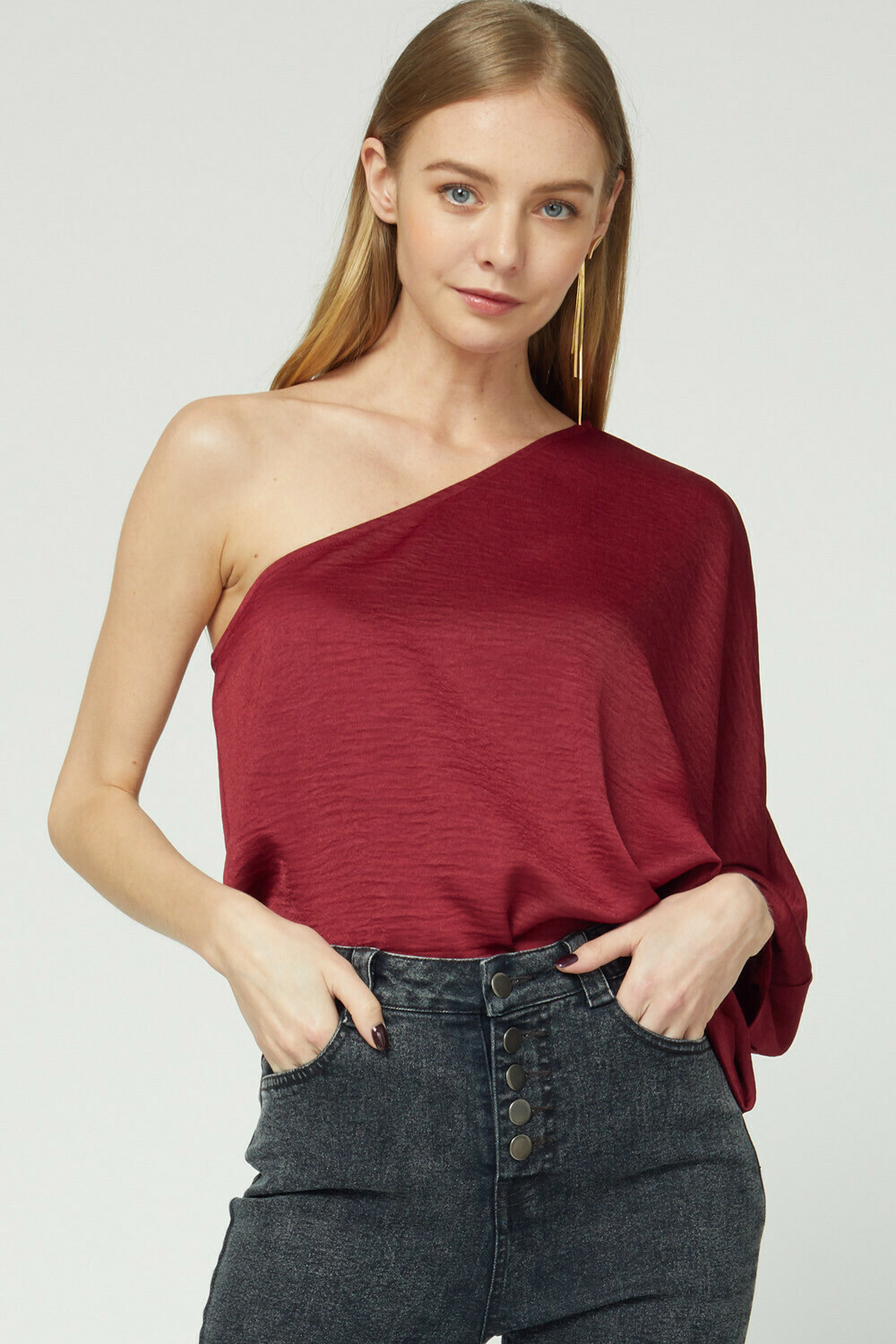 Solid silky one-shoulder long sleeve top