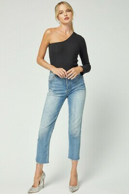 Solid ribbed one-shoulder top