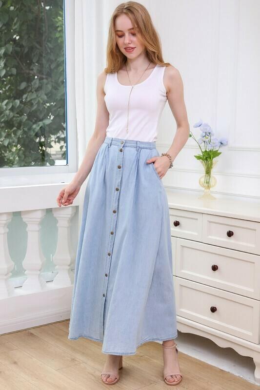 Button Up A-Line Denim Chambray Maxi Skirt