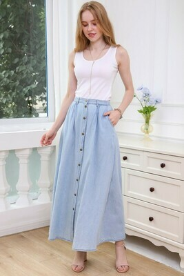 Button Up A-Line Denim Chambray Maxi Skirt