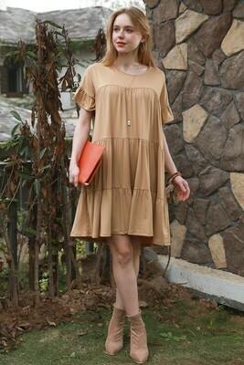 ROUND NECK THREE LAYERED SEAM SHIRRING DRESS