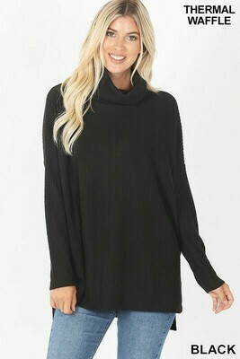 BRUSHED THERMAL WAFFLE COWL NECK HI-LOW SWEATER