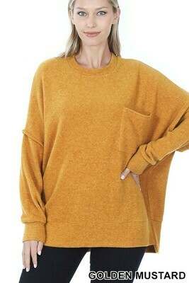 BRUSHED MELANGE DROP SHOULDER OVERSIZED SWEATER