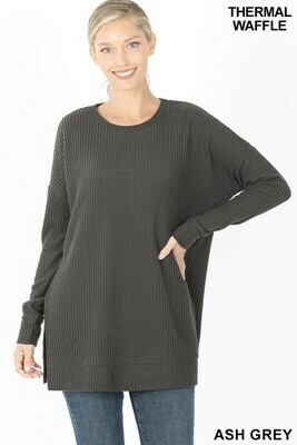 BRUSHED THERMAL WAFFLE ROUND NECK SWEATER