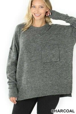 MELANGE HI-LOW HEM POCKET SWEATER