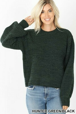 MELANGE BALLOON SLEEVE SWEATER