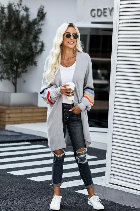 Multi Stripe Balloon Sleeve Sweater Cardigan