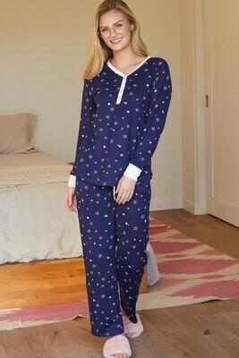 Long Sleeve Henley Neck Pajama Set