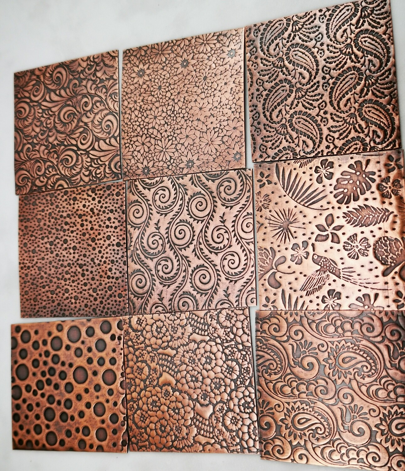 "One 2"" x 2"" Square 22 Gauge Textured Copper"