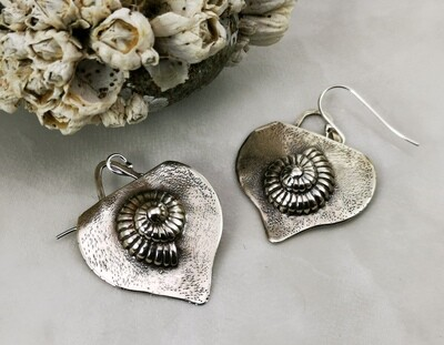 NAUTILUS Sterling Silver Repousse Handmade Earrings