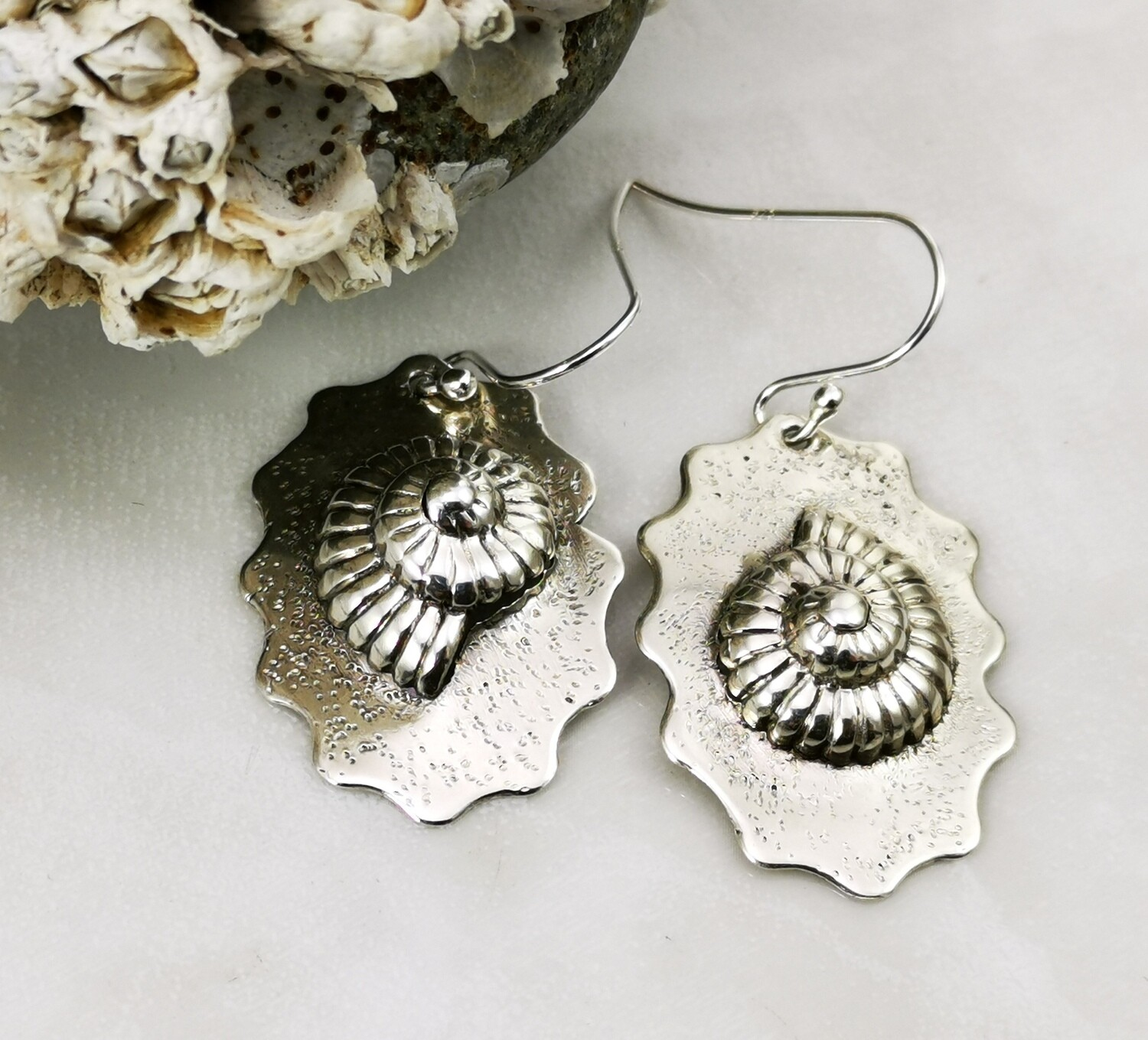 NAUTILUS Ruffled Sterling Silver Repousse Handmade Earrings